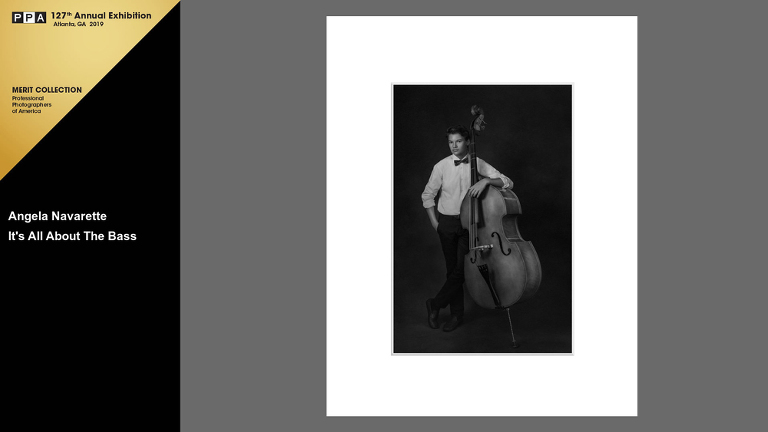 Monochrome Teen Boys Portraits with Bass Musical Instruments